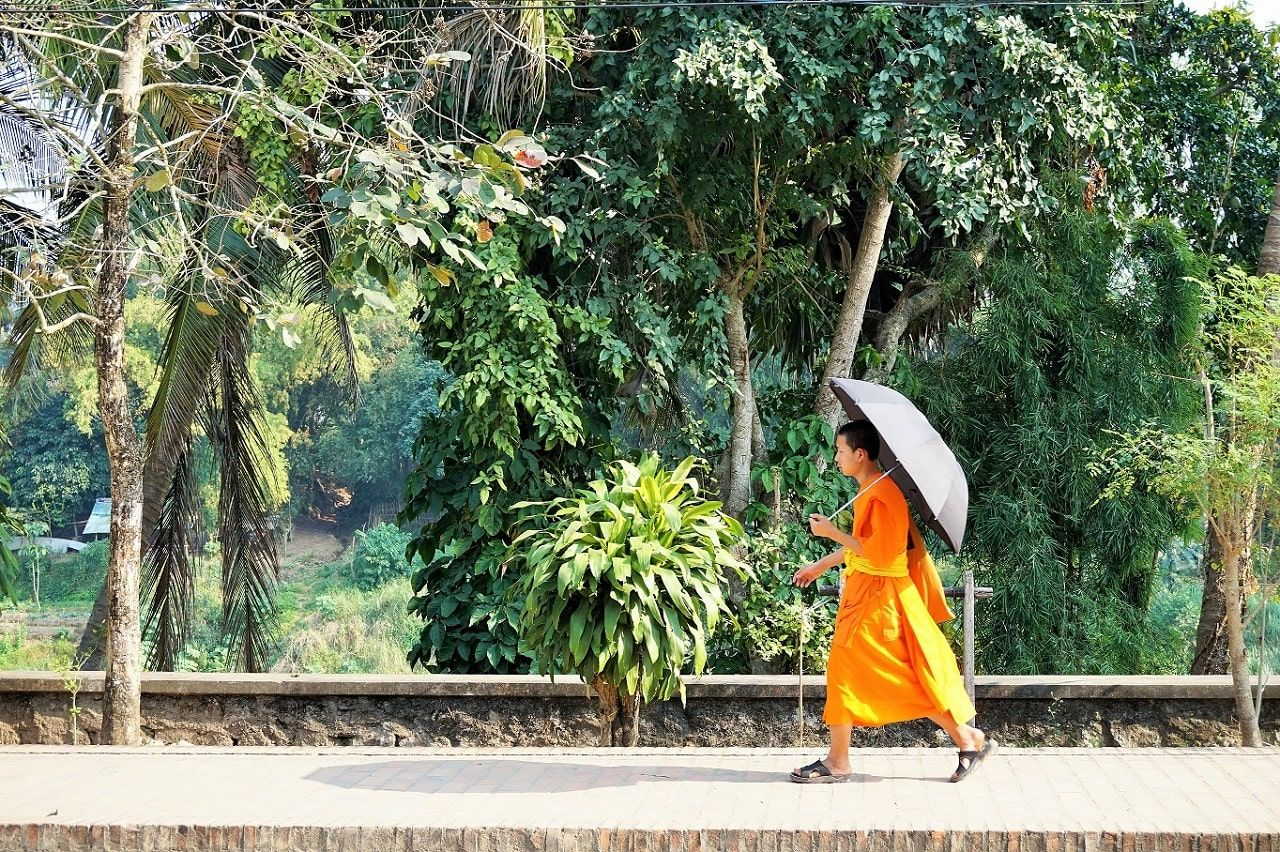 Young monk novice walking along the Nam Khan river