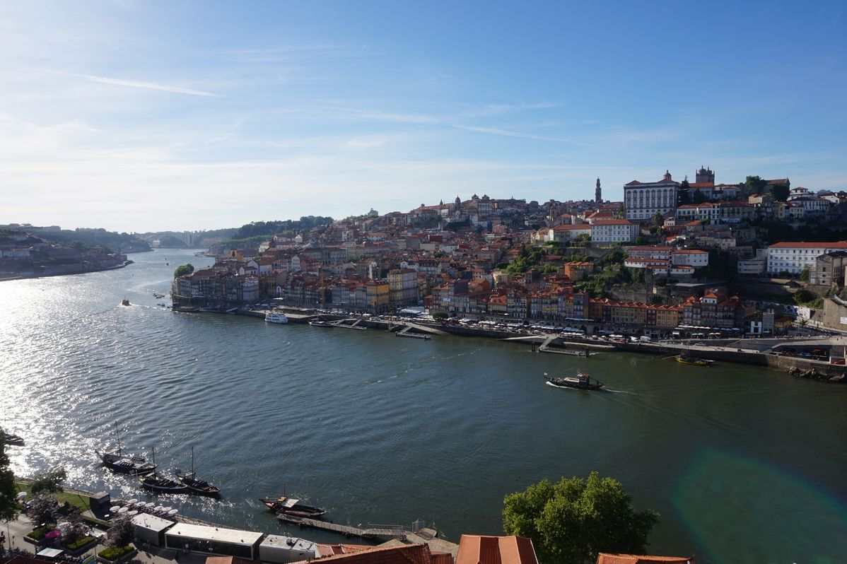 view from the bridge to the city of porto portugal