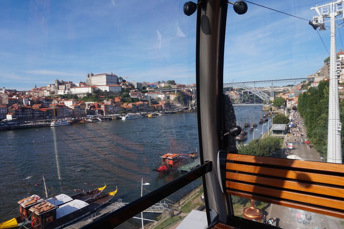 view from cable car of the douro river and porto city