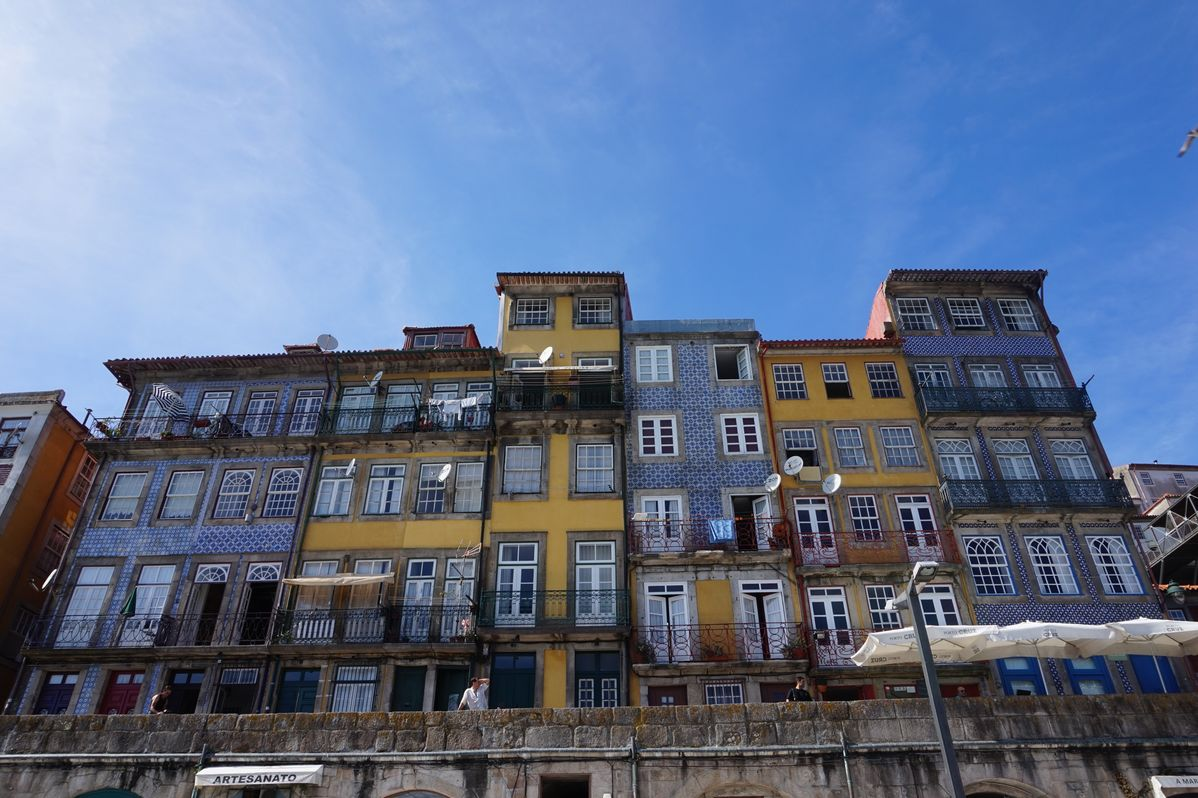 different colorful building in porto portugal