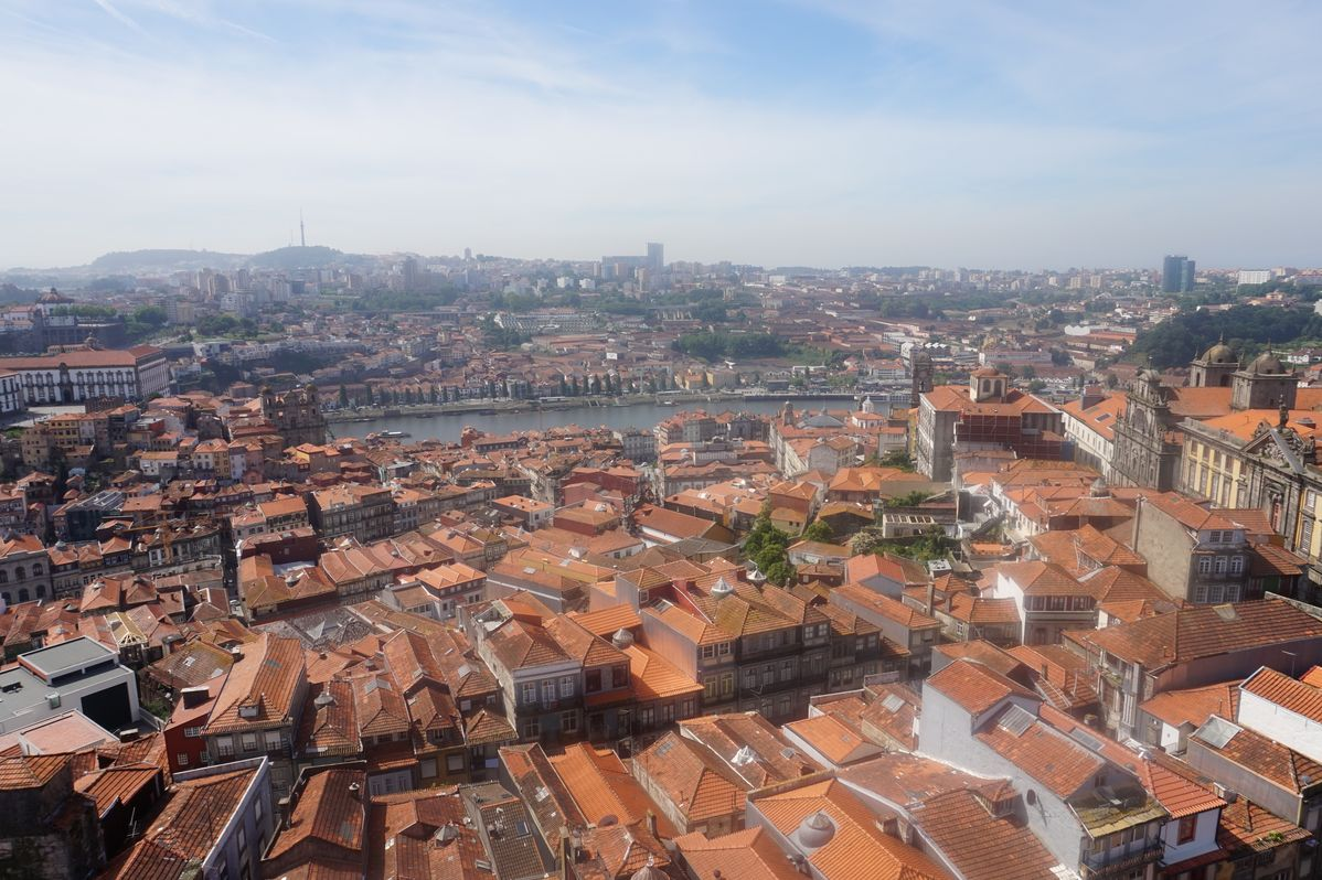 view across the red rooftops of porto