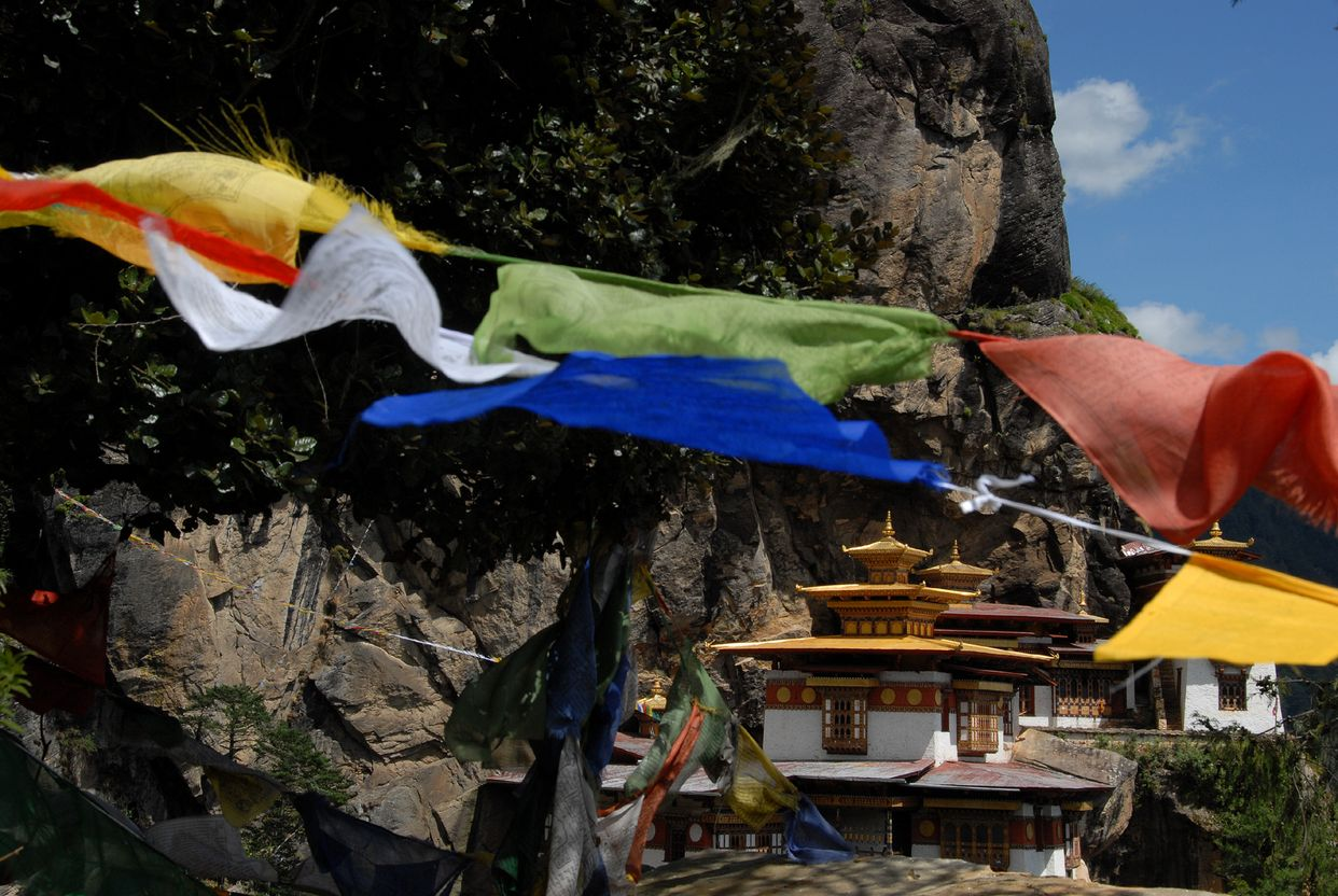 Flags waving in Bhutan