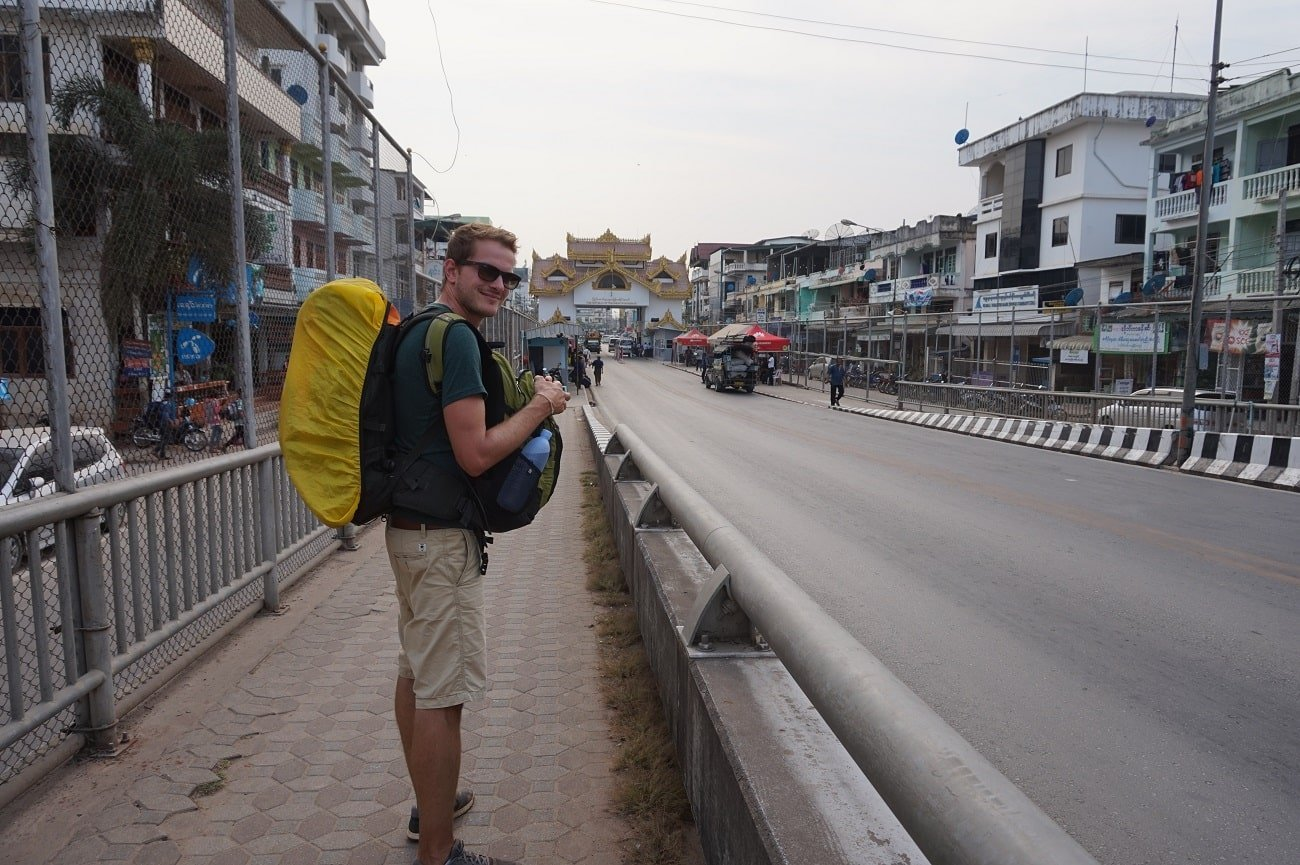 walking with backpack in myanmar