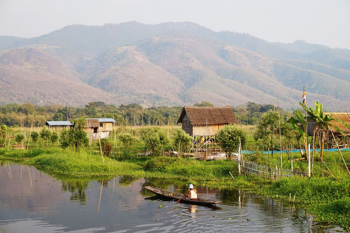 view on inle lake in myanmar