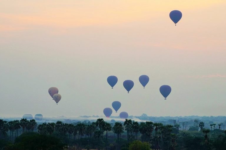 Balloons at sunrise in Bagan Myanmar