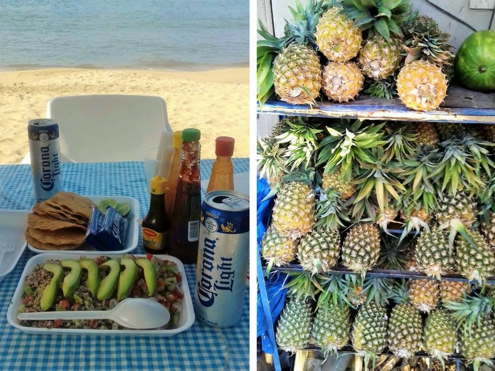 ceviche by the beach and bunch of pineapples