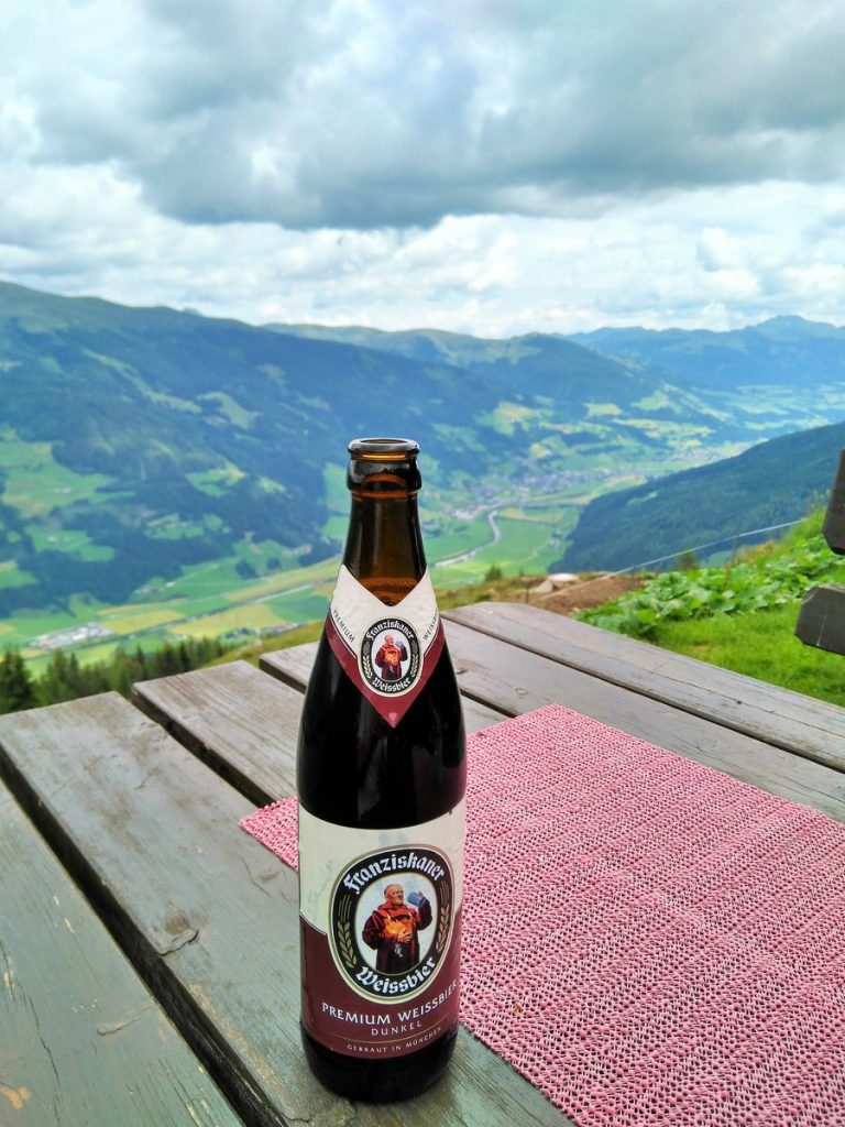 bottle of beer mountain austria